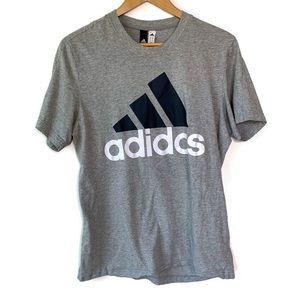 Adidas Grey Navy Blue White Logo Graphic T Shirt
